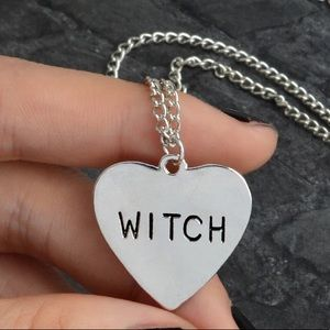 🎉 Silver Plated Witch Heart Pendant Necklace